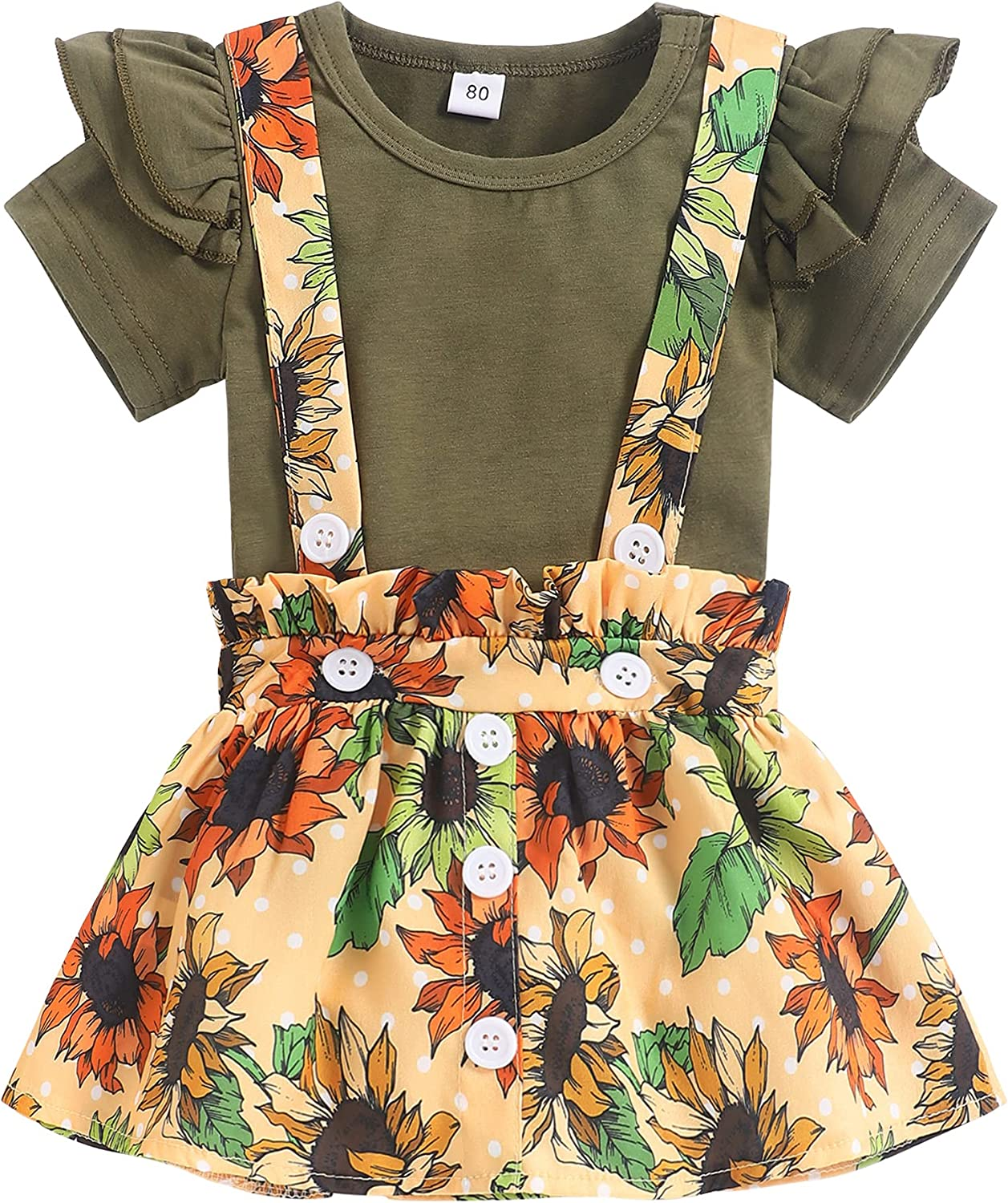 Toddler Baby Girl Clothes Overall Outfits Sets Short Sleeve Floral Ruffle Top Suspender Skirt Summer Clothes for Baby Girl