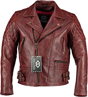 Gallanto Vintage Red Classic Diamond Biker Motorcycle Mens Leather Jacket Ladies Waxed