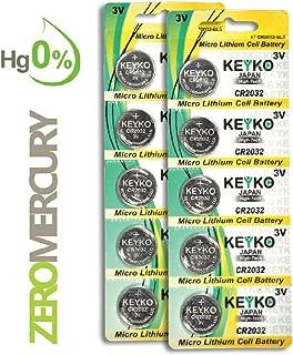 2032 Battery - 10 pcs Pack - 3V Lithium Buttom Coin Cell Battery Type 3.0 Volt: CR2032 DL2032 ECR2032 Genuine KEYKO Supreme High Energy