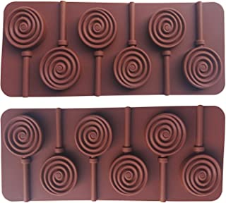 AxeSickle 2pcs Silicone lollipop mold DIY Silicone mould Round chocolate molds and plastic rod.