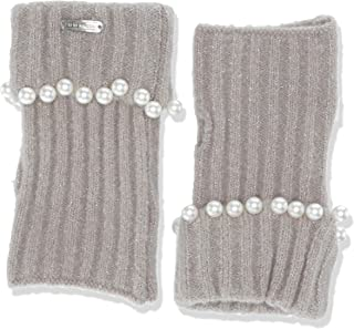 Steve Madden Women's Soft Knit Armwarmers with Pearl Embellishments, Heather Grey, One Size