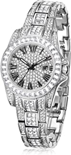 PB Quartz Watches for Women Silver Crystal with Date...