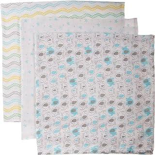 Luvable Friends Unisex Baby Muslin Cotton Swaddle Blanket, Basic Elephant, One Size