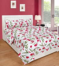 IVAZA Premium 160 TC Latest Beautiful 3D bedsheet Double Bed Polycotton with Two Pillow Covers (Pink _2)