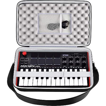Funda para controlador MIDI compatible con AKAI Professional MPK Mini MK3/Play/MKII 25 teclas USB MIDI. Soporte de viaje con bolsillo de malla y correa para el hombro (solo caja)