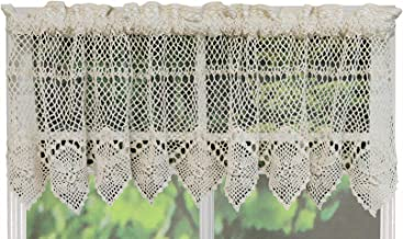 Creative Linens Cotton Crochet Lace Kitchen Curtain Valance Beige Handmade
