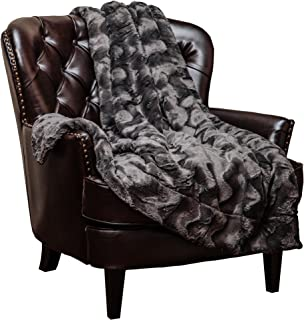 Chanasya Fur Throw Blanket for Bed Couch Chair Daybed - Soft Wave Embossed Pattern - Warm Elegant Fuzzy Fluffy Faux Fur Plush Suitable for Fall Winter Summer Spring (50x65) - Dark Grey Blanket