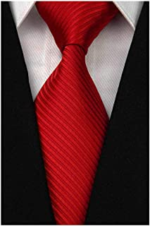 Men's Classic Solid Tie Silk Woven Necktie Jacquard Neck Ties For Men