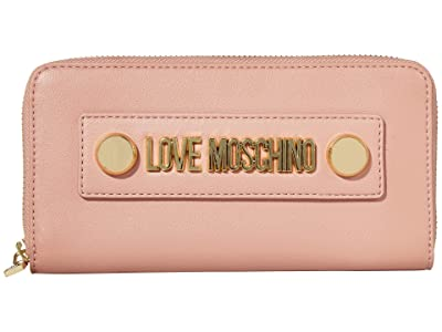 LOVE Moschino Love Logo Stud Zip Wallet (Pink Powder Small Grain PU) Handbags