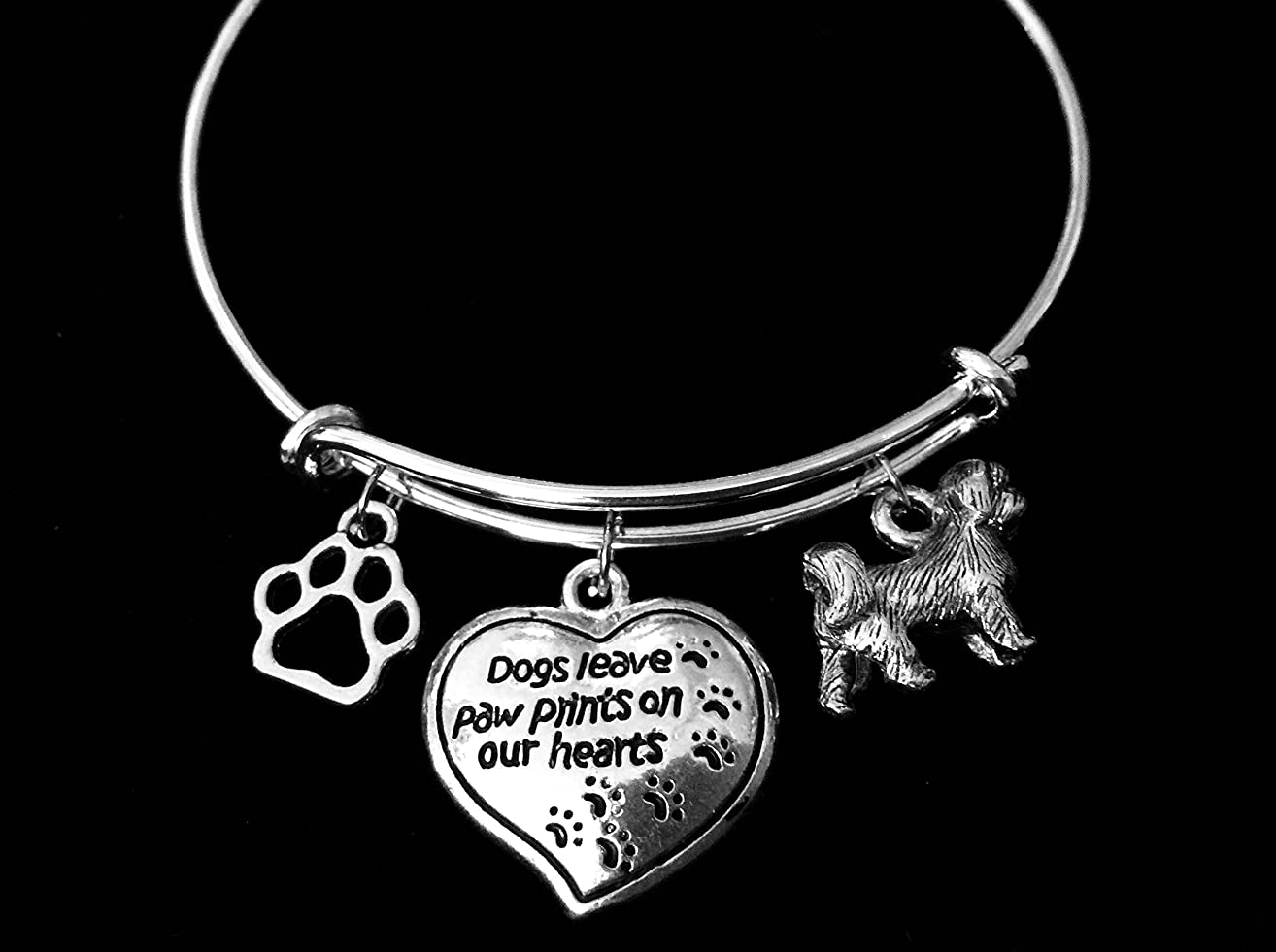 Shih Tzu Dogs Leave Paw Prints on Our Hearts Expandable SIlver Charm Bracelet Adjustable Bangle Pet Dog Bone Personalization Custom Options Available