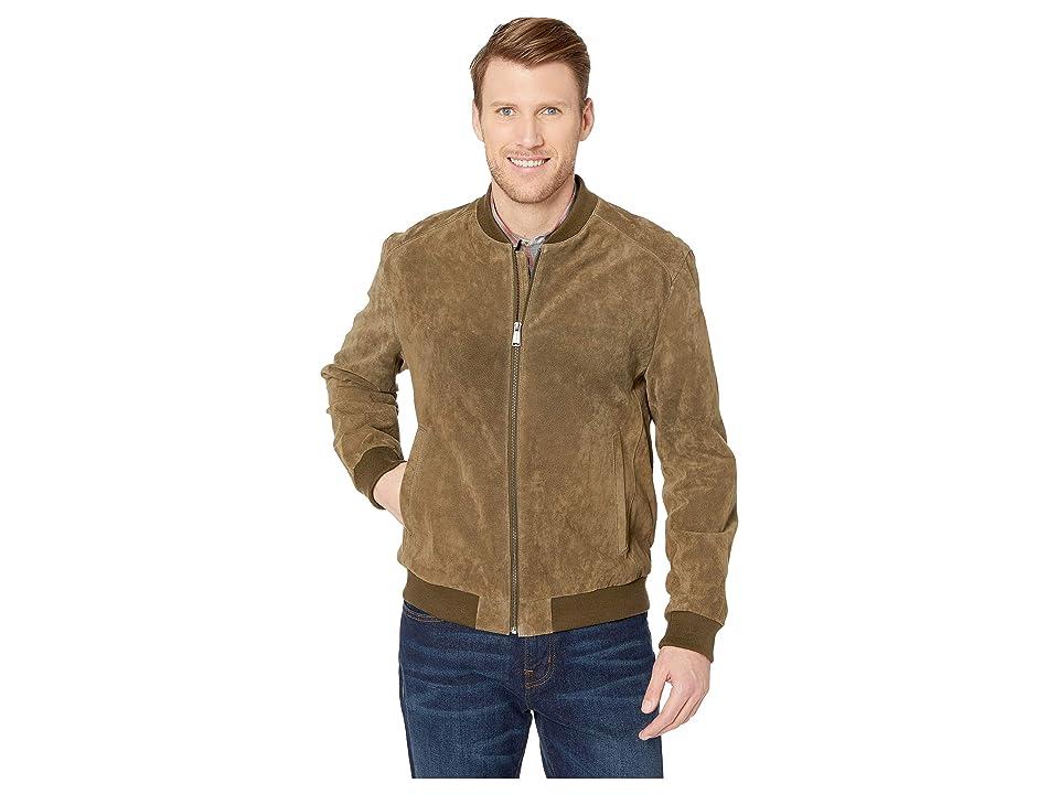 Cole Haan Suede Zip Front Water Resistant Jacket (Olive) Men