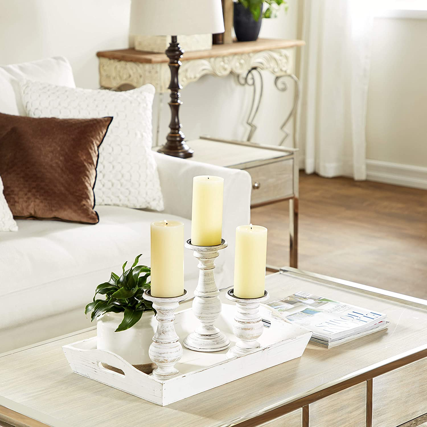 """Deco 79 Distressed White Wood Candle Holders with Spiked Candle Plates, Traditional Style Table Decor, White Candlesticks Accent Decor   Set of 3: 4"""", 6"""", 8"""""""