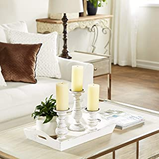 """Best Deco 79 Distressed White Wood Candle Holders with Spiked Candle Plates, Traditional Style Table Decor, White Candlesticks Accent Decor 