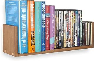 Wallniture Floating Contemporary Multi-Purpose U Shape Wall Mountable Wood Book Shelves Media Storage Solution in Walnut