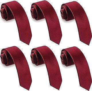 Mens Slim Tie 2.4 Inches Ties Set 1&6 Pack Wholesale Solid 6 cm Skinny Neckties for Men