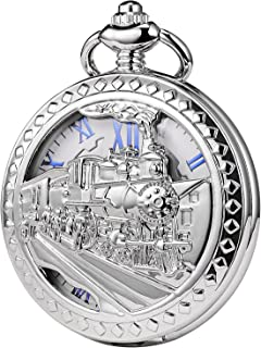TREEWETO Mens Womens Antique Mechanical Pocket Watch Skeleton Silver Case Steam Train Railroad Roman Numerals