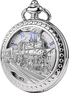 TREEWETO Mens Womens Antique Mechanical Pocket Watch Skeleton Silver Case Steam Train Railroad Roman Numerals
