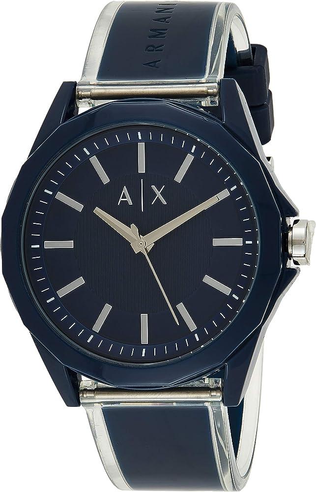 Armani exchange, orologio per uomo, con cassa in nylon colore blu, e cinturino in  poliuretano blu AX2631