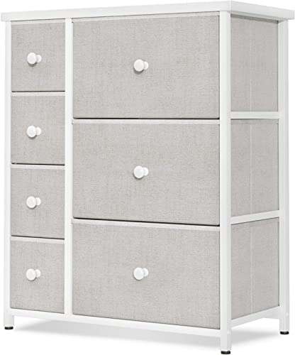 new arrival ODK Dresser with 7 Drawers, Small Fabric Storage Tower Organizer Unit for sale Bedroom Chest for Hallway, outlet sale Closet Steel Frame and Wood Top, Easy Pull Solid Handle, Light Gray outlet sale