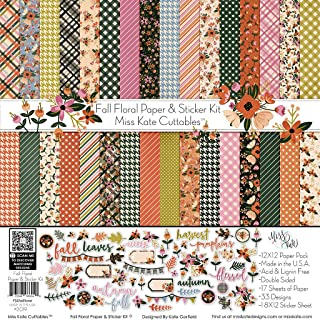 Paper & Sticker Kit - Fall Floral - 17 Double-Sided 12x12 Papers with 33 Designs & 1 8X12 Sticker Sheet - Scrapbooking Card Making Crafting - by Miss Kate Cuttables