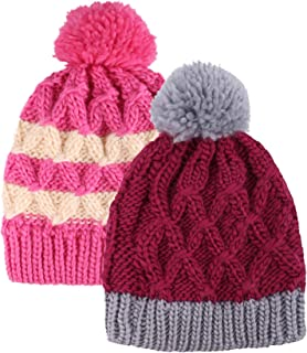 Arctic Paw Kids and Toddlers' Chunky Cable Knit Beanie with Yarn Pompom - Set of 2