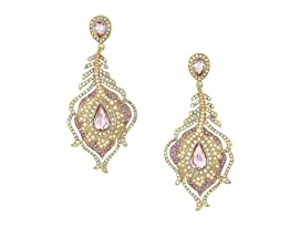 Blue by Betsey Johnson Pink and Gold Tone Peacock Feather Drop Earrings