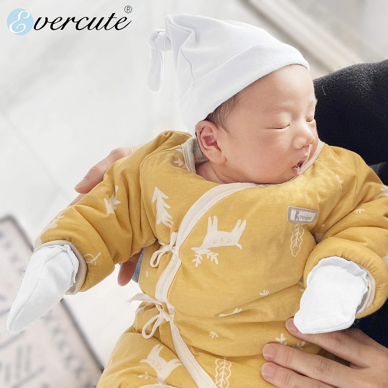 Evercute Baby Hats Mittens Set 0-3 Months 9/6/3pack Premium Newborn Beanies Top Knot Caps Gloves No Scratch Baby Boys Girls