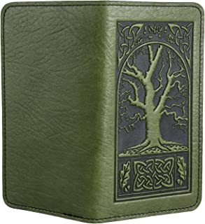 Celtic Oak Embossed Genuine Leather Checkbook Cover, 3.5x6.5 Inches, Fern Color, Made in the USA