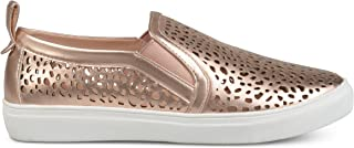 Womens Faux Leather Pull-on Laser-Cut Sneakers