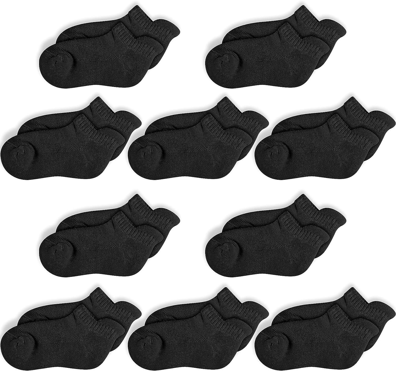 CoziFoot 10 Pairs Boys Ankle Socks Half Cushion Athletic Low Cut Socks