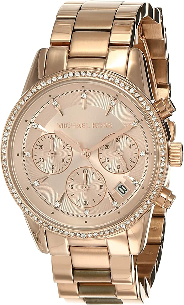 Michael kors orologio,cronografo per donna,in acciaio tonalita` oro giallo ,ghiera è impreziosita cristalli MK6357