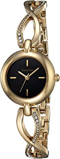 Armitron Women's 75/5495BKGP Swarovski Crystal Accented Gold-Tone Curved Bangle Watch