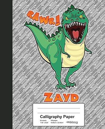 Calligraphy Paper: ZAYD Dinosaur Rawr T-Rex Notebook