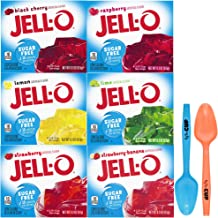 Jell-O Sugar Free Gelatin 0.3 Ounce, 6 Flavor Variety Pack with By The Cup Mood Spoons