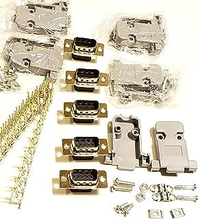 Connectors Pro 5 Sets Crimp Type DB9 Male + Plastic Hoods + Pins Set, D-Sub 9P Male Crimp Connector, Pin & Hood Kit (5 DB9 Male + 5 Hoods + 50 Pins)