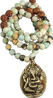 Tribe Azure Fair Trade Amazonite Beaded Necklace with Elephant Ganesha Pendant Strand Gemstone Women Boho Yoga Fashion