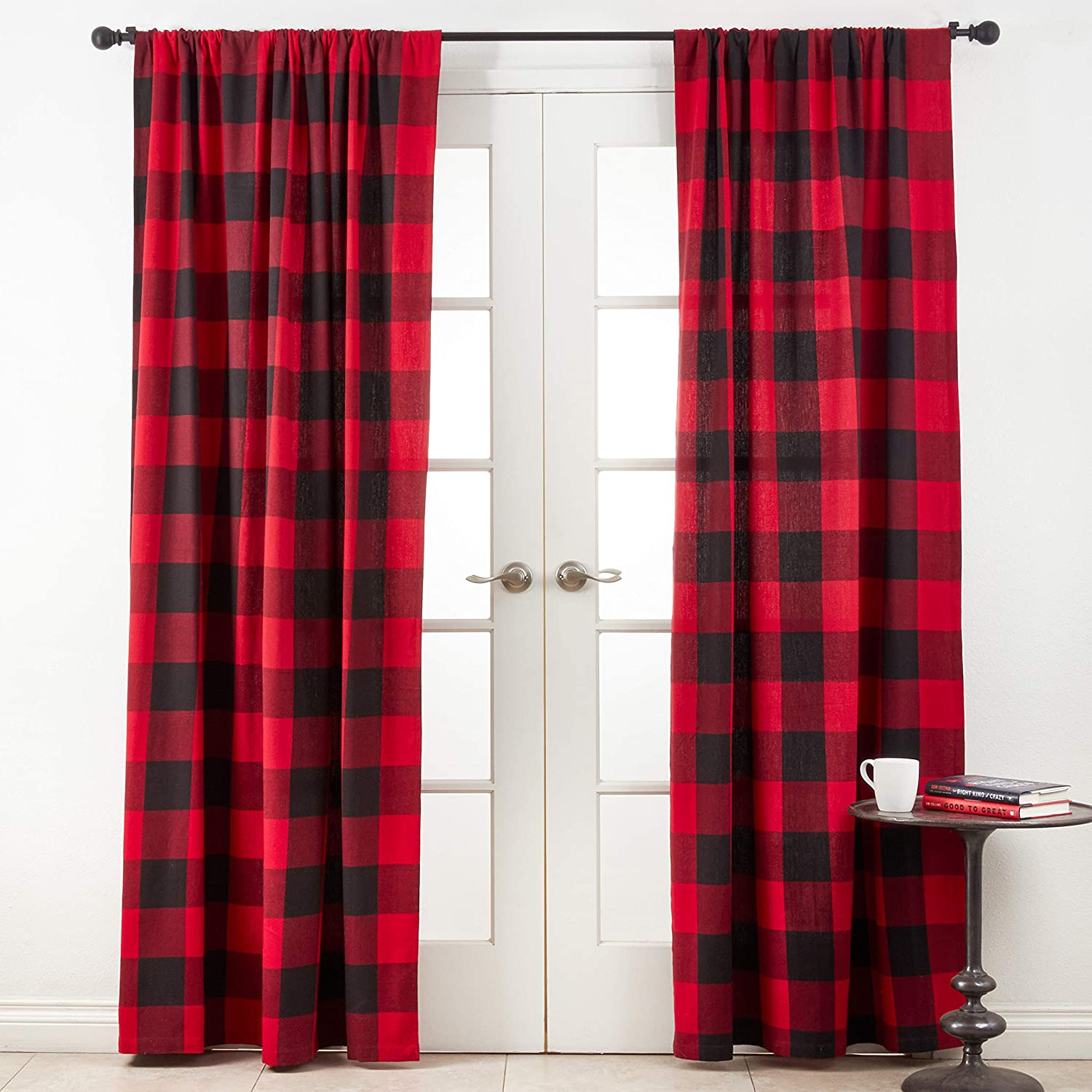 SARO LIFESTYLE Birmingham Collection Buffalo Plaid Cotton Curtains, 54  x 96 , Red