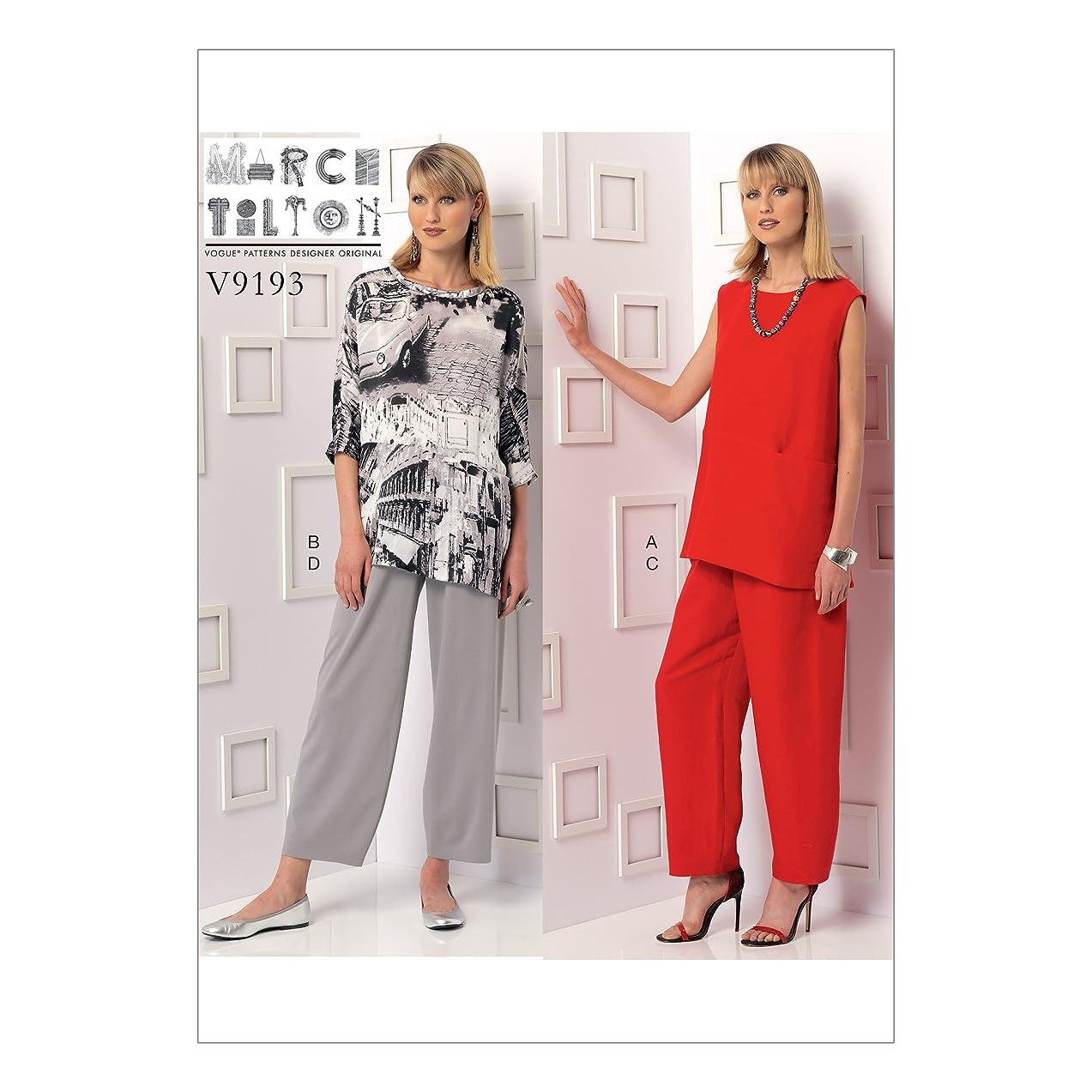 Vogue Patterns V9193F50 Misses' Sleeveless Or Dolman Sleeve Tunics Pants with Yoke, 16-18-20-22-24, Green