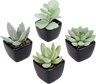 MyGift Assorted Faux Succulent Plants in Square Black Ceramic Pots, Set of 4