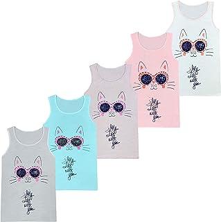 LOREZA ® 5 niñas Camisetas de algodón Camiseta sin Mangas niños Varios Motivos 2-13 años
