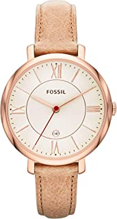Fossil Women Jacqueline Stainless Steel and Leather Casual Quartz Watch