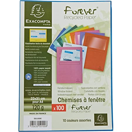 Exacompta - Réf. 50100E - Paquet de 100 chemises à fenetre Forever® - 22x31cm pour format A4 - Couleurs assorties,blanc, bleu clair, bleu vif, fuchsia, jaune, lilas, orange, rouge, vert pré, vert vif