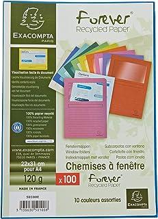 Exacompta - Réf. 50100E - Paquet de 100 chemises à fenetre Forever® - 22x31cm pour format A4 - Couleurs assorties,blanc, b...