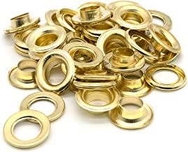 "Ram-Pro 1/2"" Brass Grommets Eyelets with Washers Kit, Solid Metal Antique Style Eyelet Repair Replacement Pack, Sets of 25"