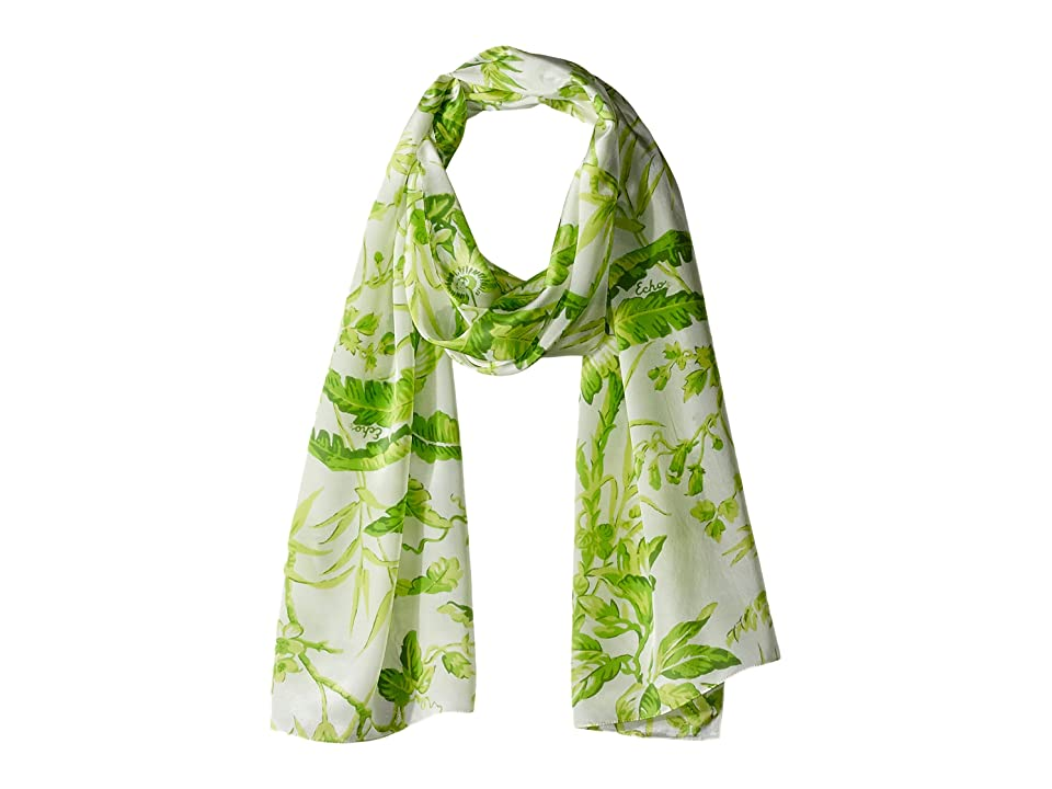 Echo Design Tropical Toile Silk Oblong Scarf (Green) Scarves