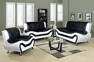 Beverly Fine Furniture 3 Piece Aldo Modern Sofa Set, Black/White