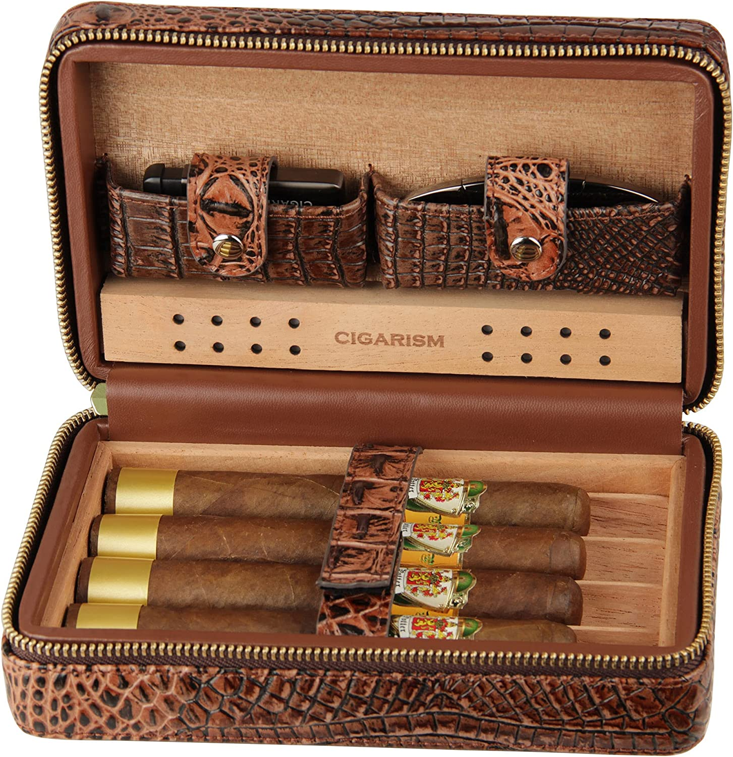CIGARISM Crocodile Now free shipping Style Genuine Leather Travel Ranking TOP16 Humid Case Cigar