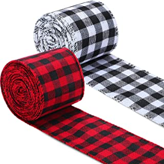 2 Rolls Plaid Burlap Plaid Wired Ribbon Christmas Wrapping Burlap Ribbon for Christmas Crafts Gift DIY Decoration, 472 x 2.5 Inch (Red Black and White Black)