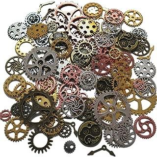 Steampunk Gear Cog, Clock Face, Wheel Skeleton Watch Pendant, Antique Charms by N'joy (8 oz/220G, 100PCS-Assorted Colors)