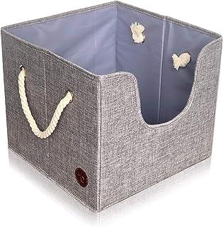 Tug's Stuff Perfect Size Dog Toy Box – Pet Leash, Blankets, Dry Treats, Bones, Food, Clothes or Accessory Storage Basket, ...